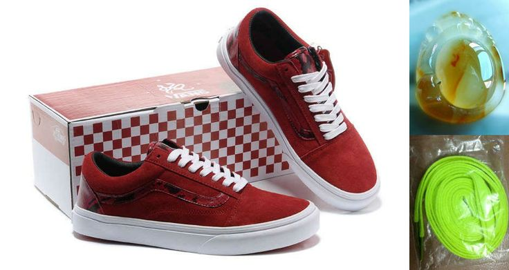 Cheap Summer Vans Old Skool Year Of The Snake Shoes Cym Red White Sale Best(Chalcedony Pendant and Neon Green Lace)