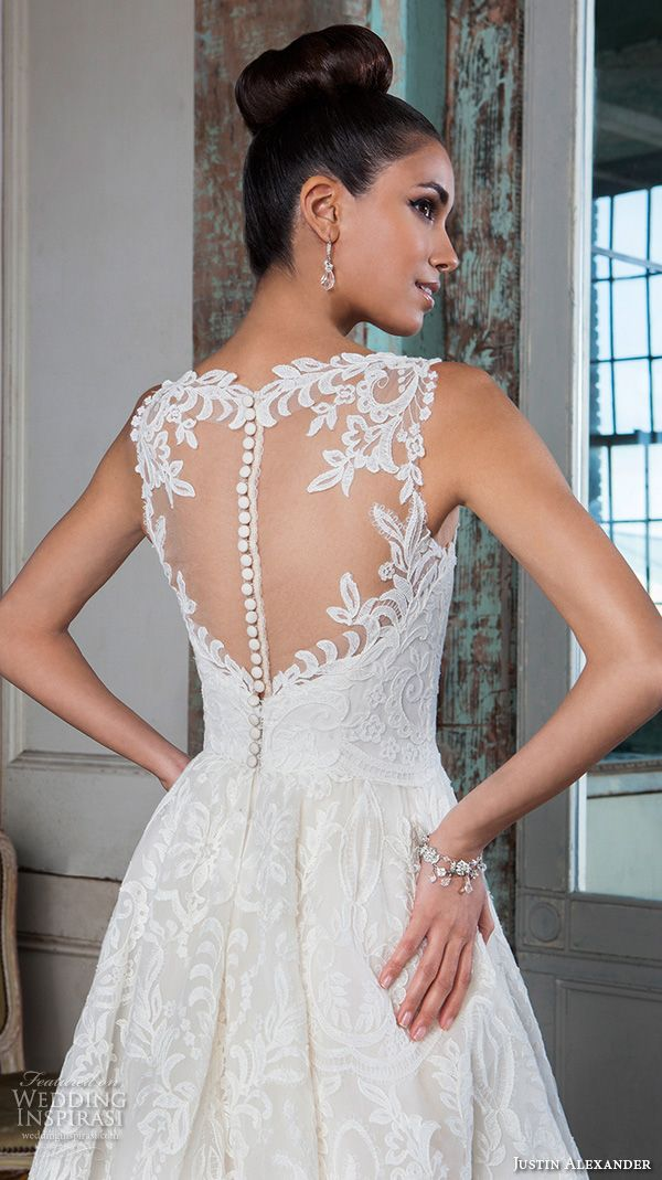 beautiful a line high low mullet wedding dress illusion sweetheart neckline lace embroidery gown 9818 sheer keyhole back closeup