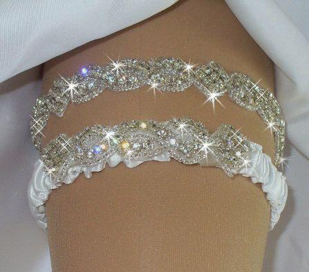 Regular Or Queen Size Wedding Garter Set Bridal Belts Rhinestone Camo Garters Something Blue By Bridalambrosia On