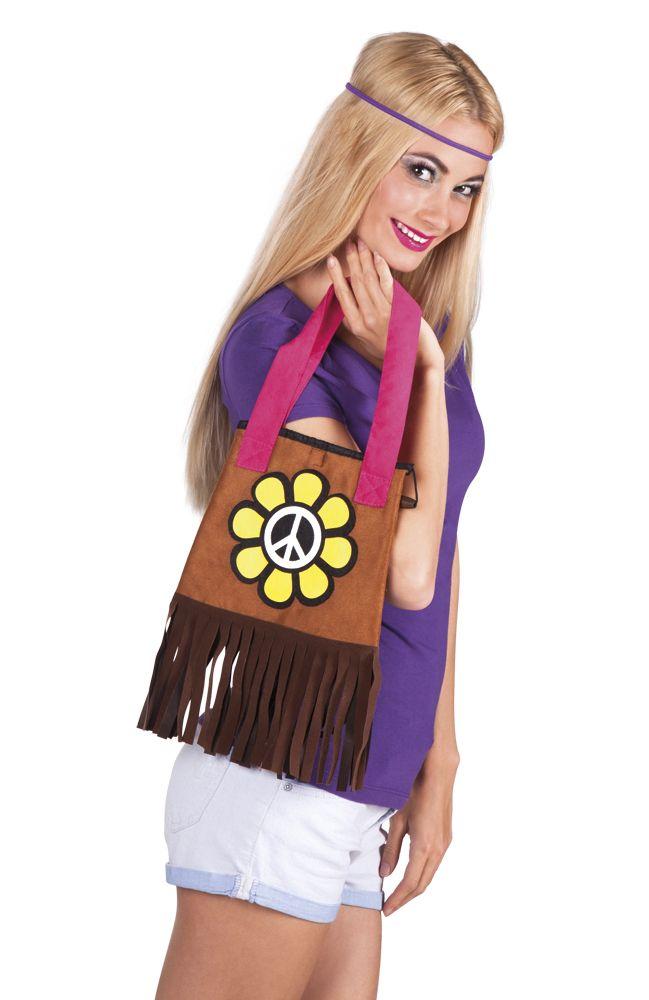 Complétez votre costume de hippie en garnissant ce sac de vos effets personnels lors d'une soirée déguisée sur le thème des années 60.