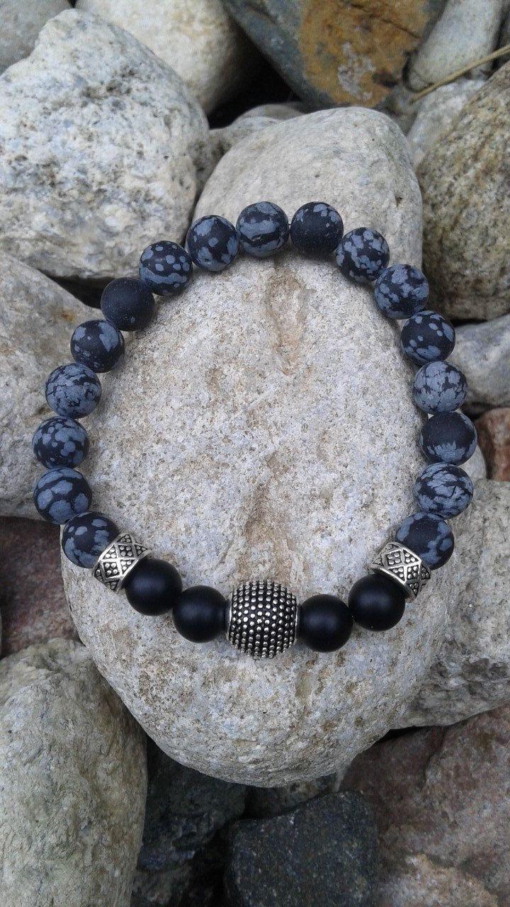 4) Bracelet Unisexe Monté Sur Fil élastique En Pierres Semi Précieuses  D'obsidiennes Et Onyx