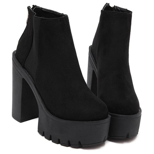 Black Thick-soled Elastic Boots ($32) ❤ liked on Polyvore featuring shoes, boots, black, chunky platform shoes, black platform shoes, black boots, round toe boots and high heel short boots