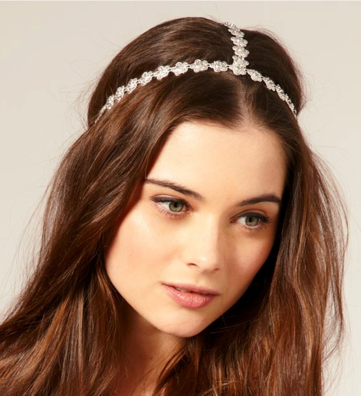 Bride's casual down hair Swarovski   Renaissance style headband wedding
