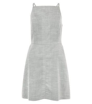 Grey Textured High Neck Dress