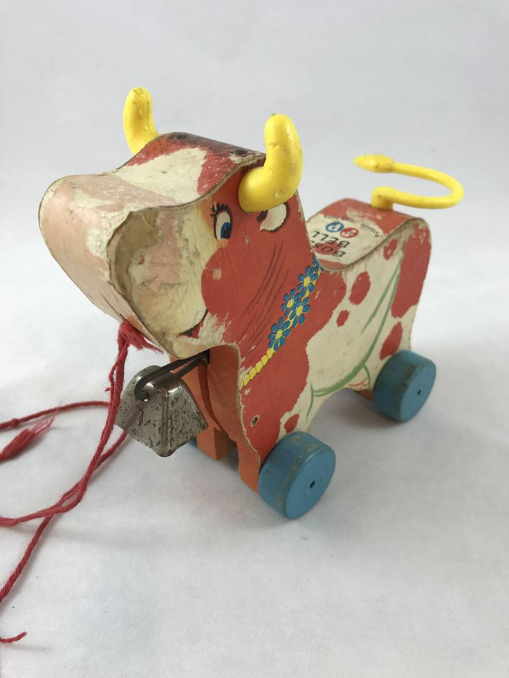 1959 Fisher Price Bossy Bell Wooden Pull Toy No. 656, Vintage FP Wood Toy, Pull Toy, Made in USA, Wooden Cow Toy, Wood With Paper Graphics by UniqueTreasuresPA on Etsy