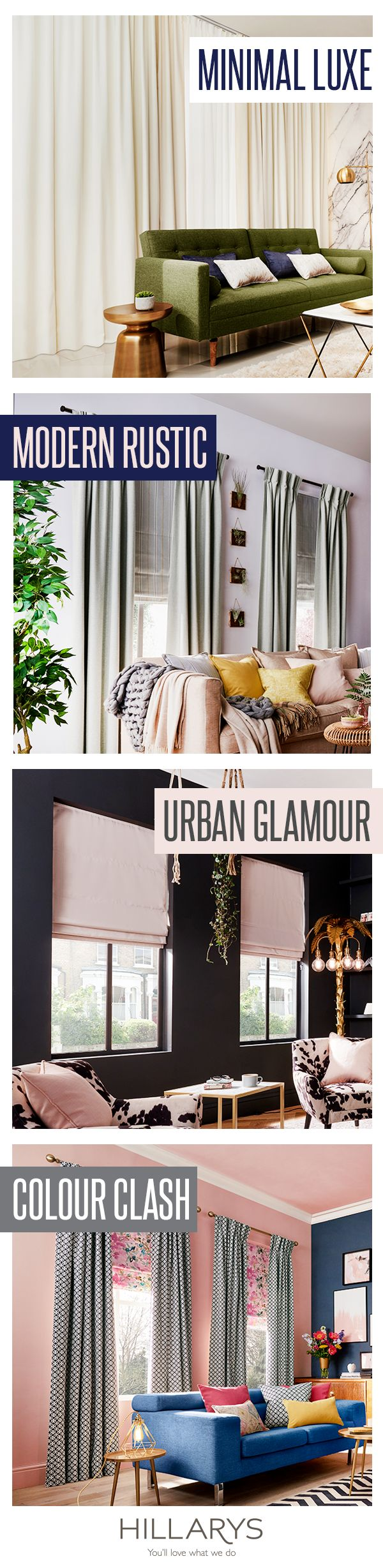 NEW sensational styles to choose from! We've picked out four interior looks we know you'll love from our new collection of curtains and Roman blinds featuring over 300 fabrics #IWANTTHATSTYLE