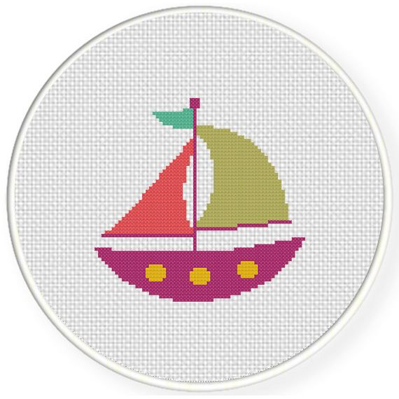 Charts Club Members Only: Cute Boat Cross Stitch Pattern