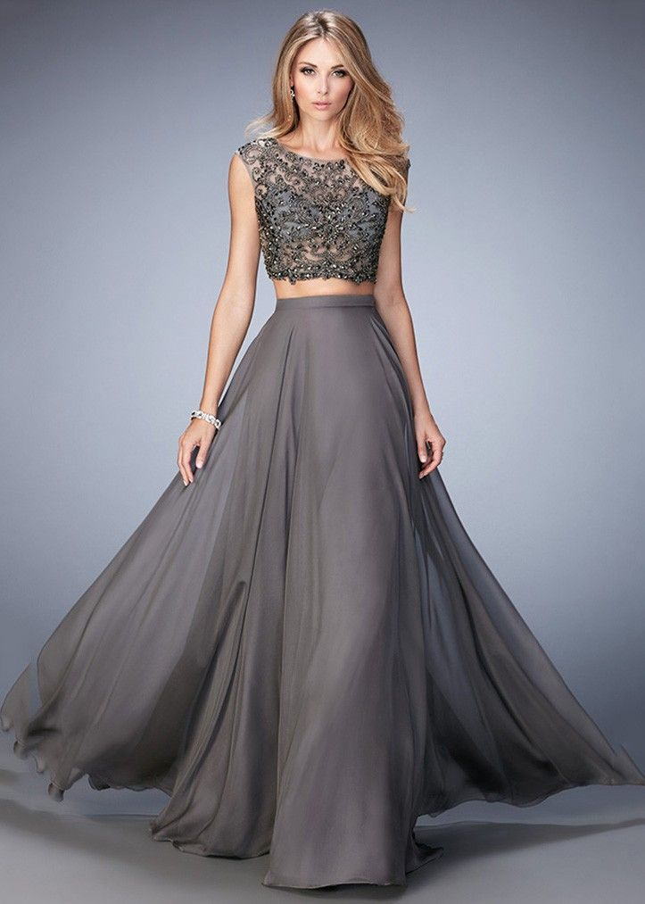 Gigi 22929 Gunmetal Lace Crop Top 2PC Evening Gown