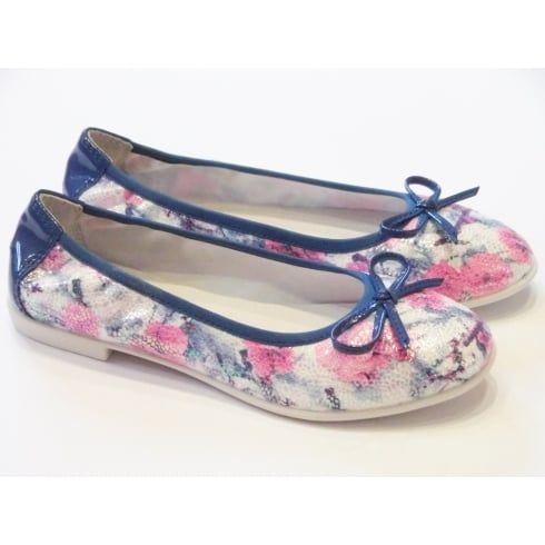 Lelli Kelly Karol LK9710 Girls Blue Floral Ballet Pump