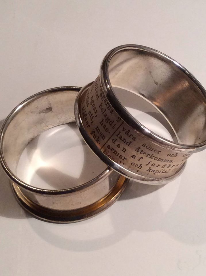 Bring life to old napkin rings with pieces from antique torn newspapers.