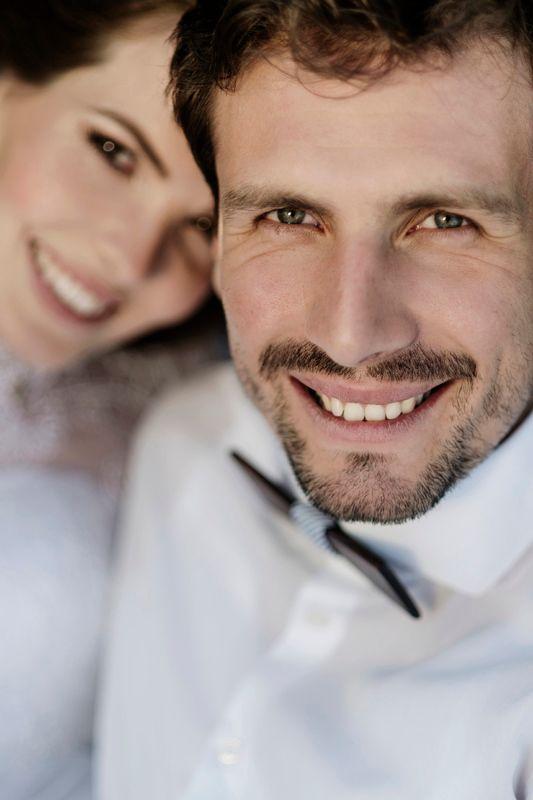 Wedding couple faces
