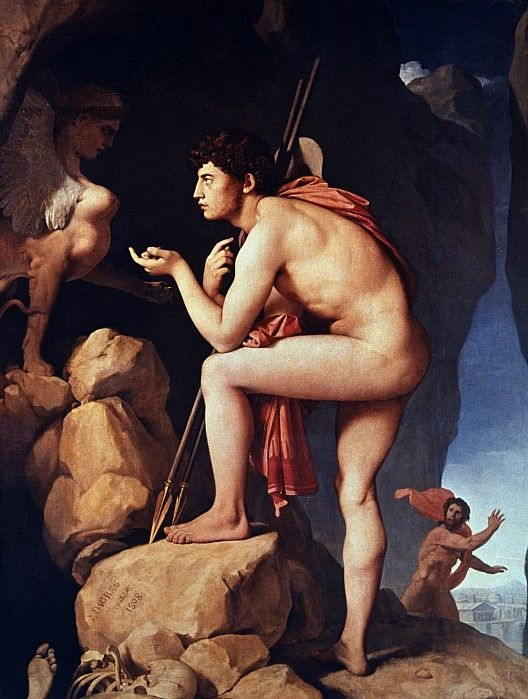 These two characters are Oeidipus and Sphinx. This scene is Sphinx gave Oedipus a riddle to solve.
