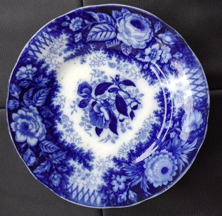 "ANTIQUE 19th CENTURY VILLEROY & BOCH V & B JARDINIERE FLOW BLUE 8"" FLOWERS PLATE"
