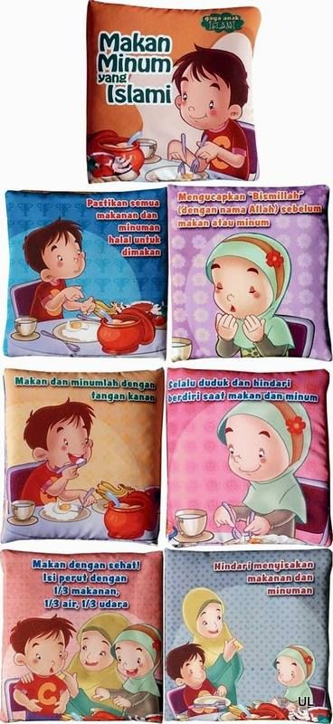 --KODE PRODUK : BB0016-- Deskripsi: Softbooks / Buku Bantal : Makan Minum yang Islami Ukuran tertutup : 16 x 16,5 cm, 6 hal isi + 2 hal sampul Berisi pengenalan sederhana untuk anak-anak tentang tata cara makan minum yang sesuai ajaran agama Islam.  Harga Rp 40.000  ORDER BY SMS 0838-9730-5480 FORMAT SMS : Nama#Alamat lengkap#No.hp#Kode produk#Jumlah# Keterangan#Bank pembayaran yang diinginkan (hanya tersedia BRI dan BCA)