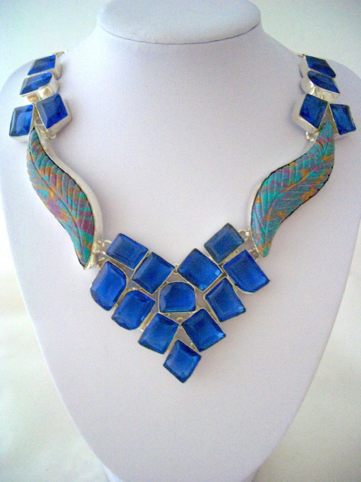 925 Sterling Silver Astonished Blue Geometric-Shaped Deep Bright Blue Crystals Sensual Statement Bib Necklace. by Ameogem on Etsy