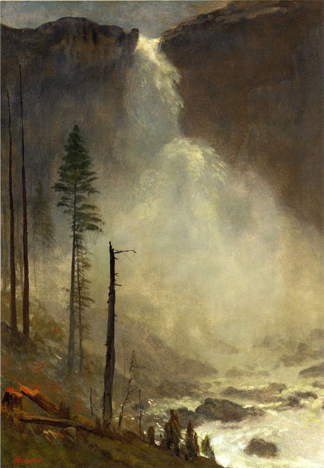 Nevada Falls By Albert Bierstadt Oil On Paper Laid Down