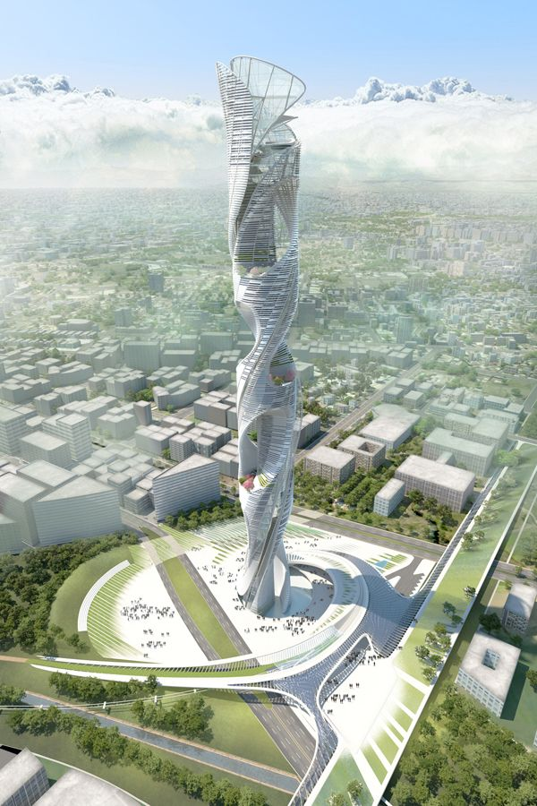 New Iconic Spiraling Skyscraper For Taichung   The team of HMC Architects and HOY Architects and Associates, led by HMC's Raymond Pan, was among the five finalists selected for the Taiwan Tower International Design Competition. Their proposal was envisioned as beacon for the city of Taichung. The iconic 400-meter tall green tower is an evolving column of life that captures and reflects the strength and resilience of the people of Taiwan. ...
