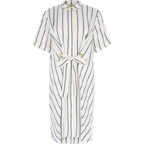 River Island White stripe eyelet tie front shirt dress (130 BRL) ❤ liked on Polyvore featuring dresses, sale, white, women, short dresses, tie front shirt dress, shirt dress, white eyelet dress and long white shirt dress