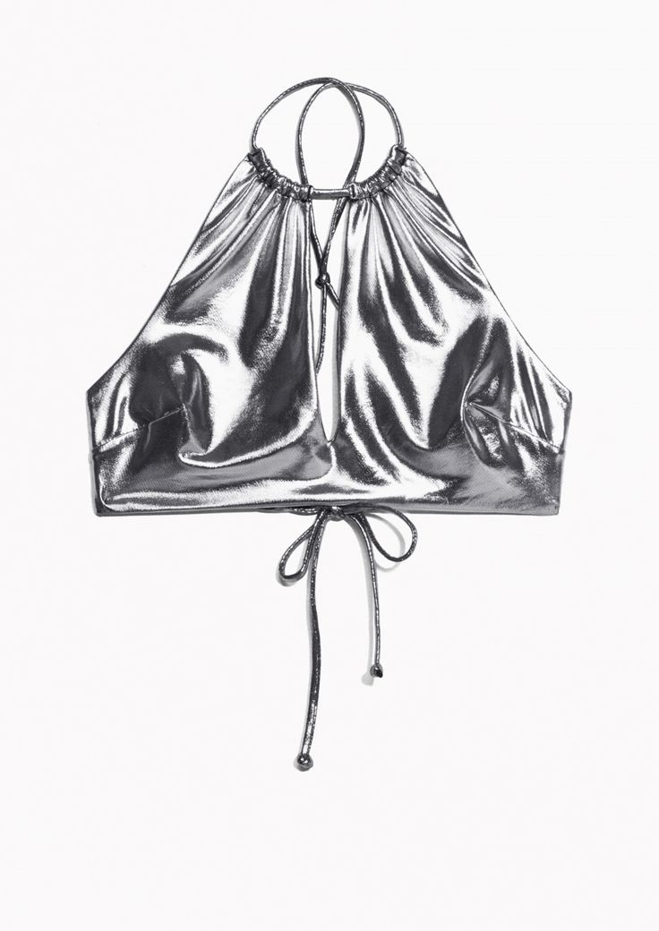 & Other Stories image 1 of Metallic Halter Top Bikini in Silver