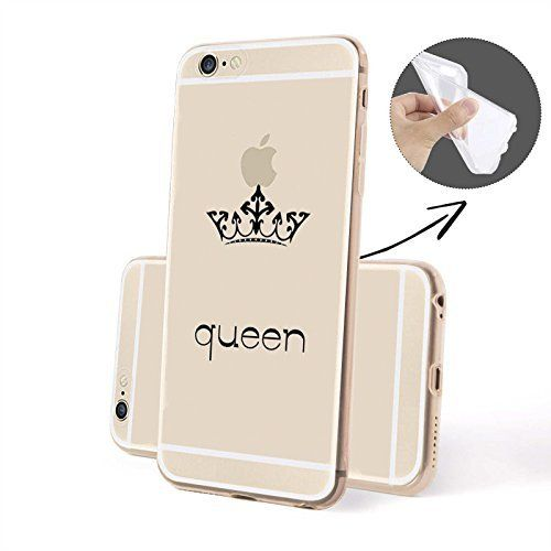 JIUBIE Two Pieces King and Queen Black Boyfriend and Girlfriend Couples Matching Cell Phone Cases for Iphone 5 5s Case - Christmas Gift