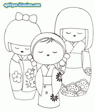 Kokeshi en coloriage