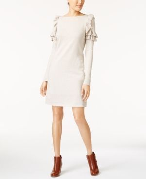 Style & Co Ruffle-Shoulder Sweater Dress, Created for Macy's - Tan/Beige XL