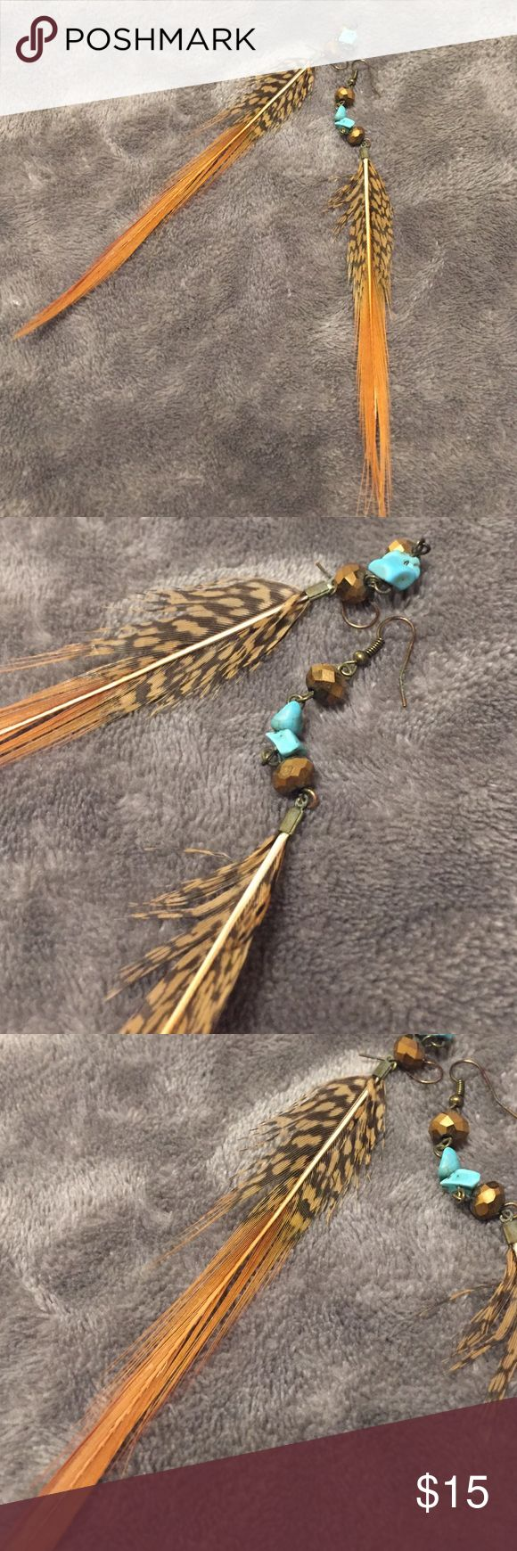 Orange and turquoise feather earrings Lights and pretty orange and turquoise feather earrings Jewelry Earrings