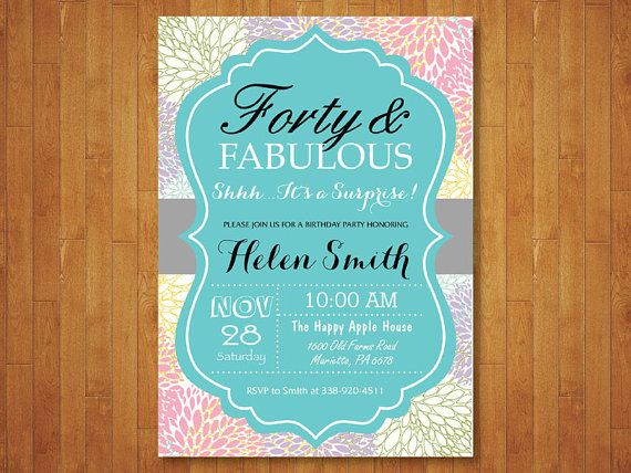 Surprise 40th Birthday Invitation for Women. by happyappleprinting