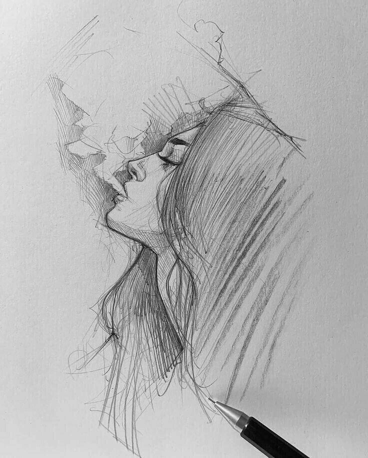 Красивые печальные девушки рисунки
