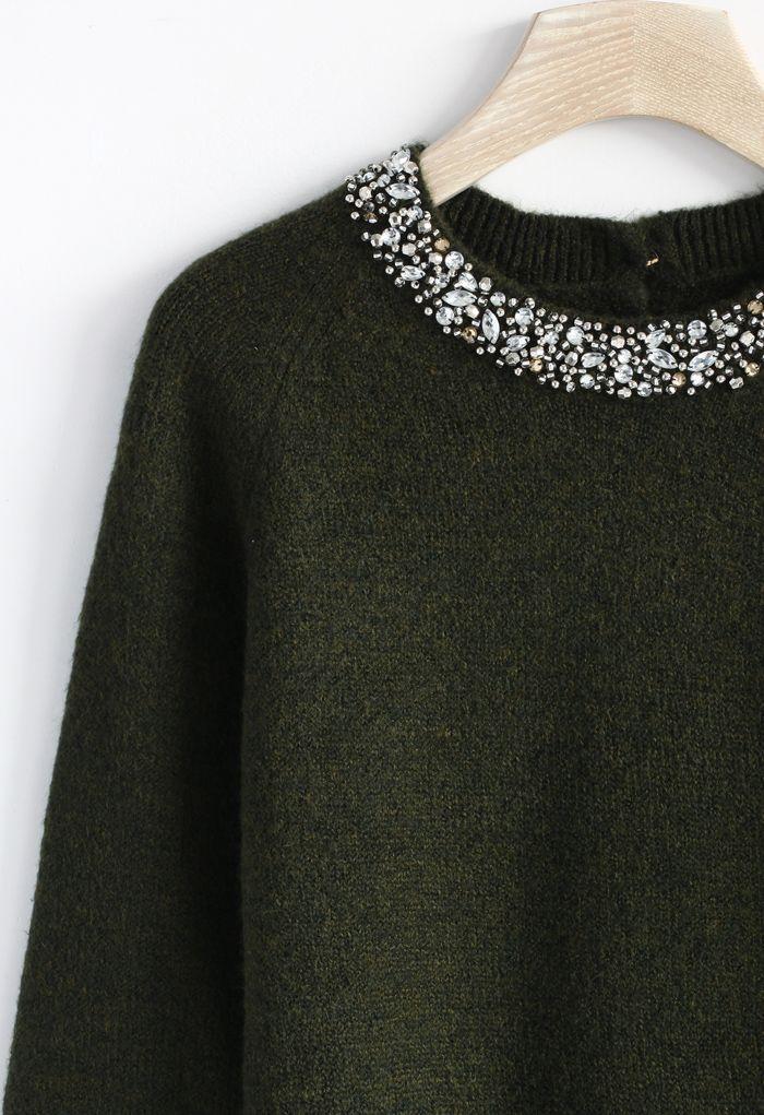 Jewelry neckline sweater in moss green