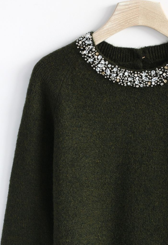Jewelry Neckline Sweater in Moss Green or Olive//