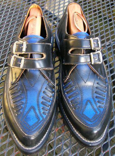 SMOKIN HOT Vintage 1980s JOHN FLUEVOG Men's Black & Blue Buckle Shoes SIZE 8.5