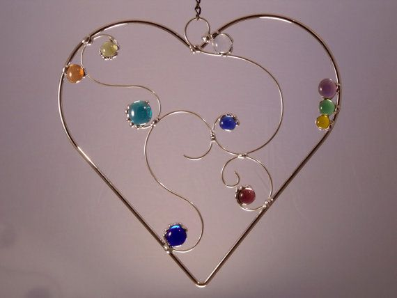 Elegant Love Heart Shaped Wire and Glass by newmoonglass on Etsy, $45.00