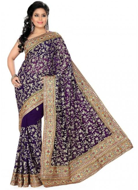 Chic Deep Purple Color Faux Georgette Based Embroidered #Saree