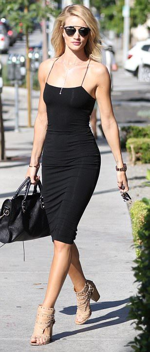 Rosie Huntington-Whiteley wears LBD as she and Jason Statham hit shops in LA