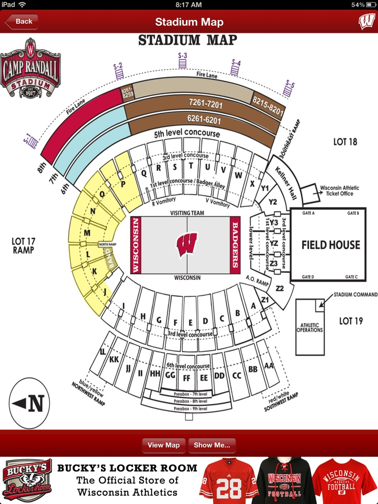 an interactive camp randall stadium map shows you. Black Bedroom Furniture Sets. Home Design Ideas