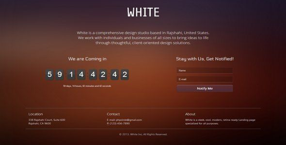 White Coming Soon Landing Page