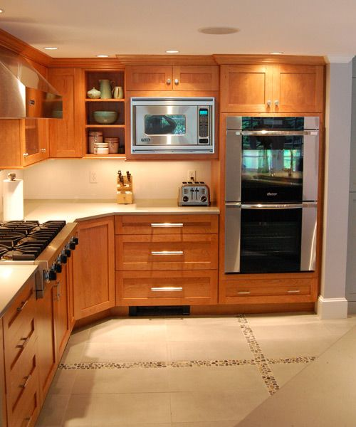 Red Cherry Wood Kitchen Cabinets: White Countertops With Cherry Cabinets