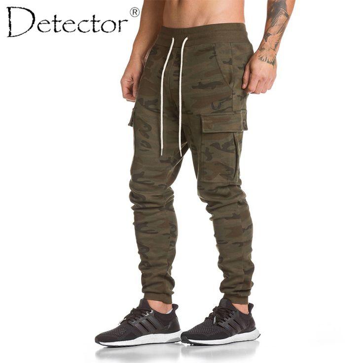 Detector Mens Autumn Winter Running Fitness Pants Sportwear Elastic Drawstring Trousers Multi Pocket Men Outdoor Sport Clothing Free Shipping