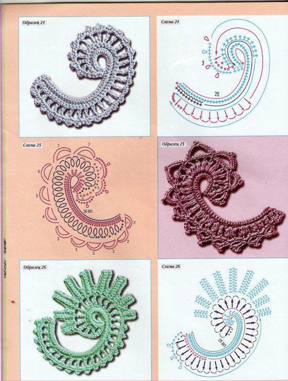 Blätter und Blüten häkeln ... Irish crochet motifs