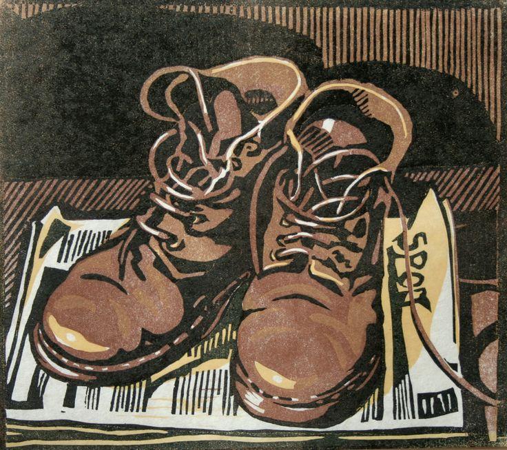 """Boots"". Four block Lino print. 26 x 24cm. 2010. Steven Hubbard."