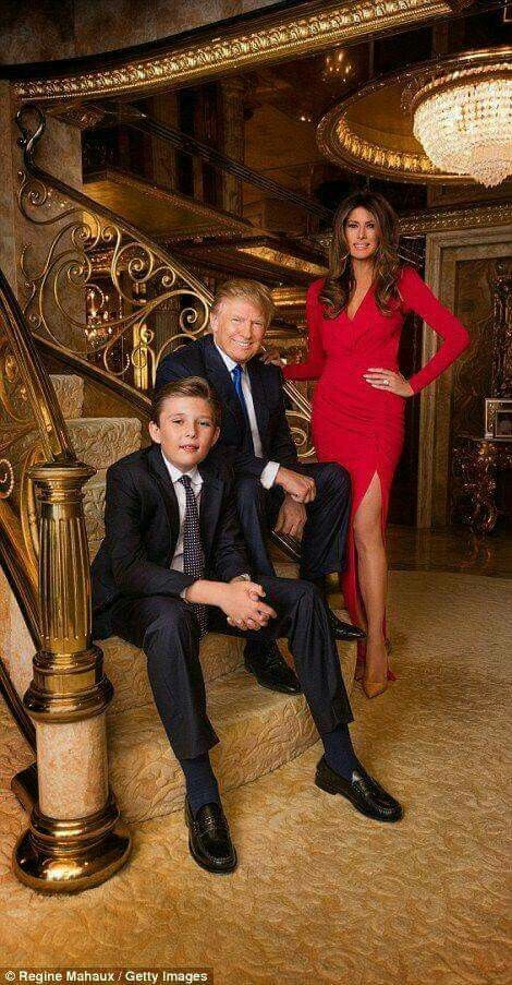 President Trump, 1st lady, Melania, and son, Barron