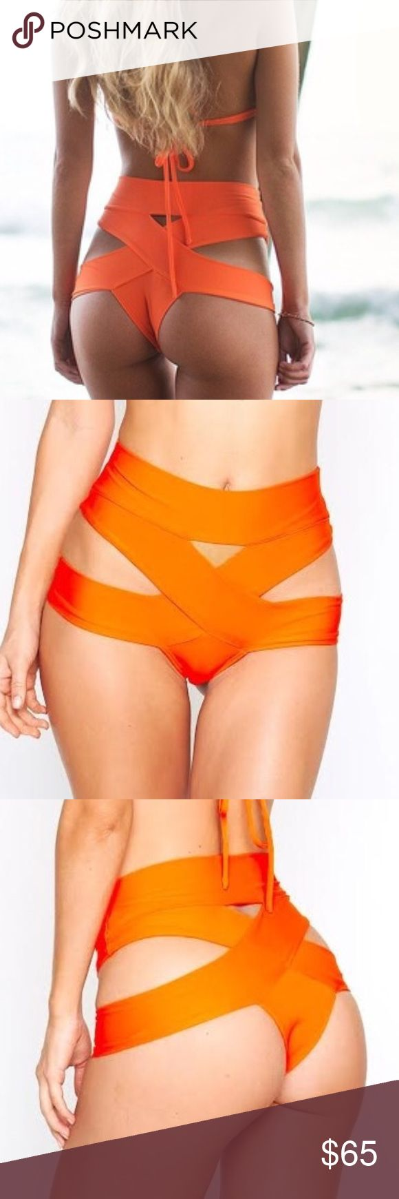 🎀Moving Sale🎀Montce Swim Naranja bikini BOTTOM Beautiful orange cross cross bottom as seen in SI swimsuit issue. NWT--never worn. It's just a bit too small for me. Please refer to the montce size chart for sizing. This listing is for the BOTTOM only. No trades please. montce swim Swim Bikinis