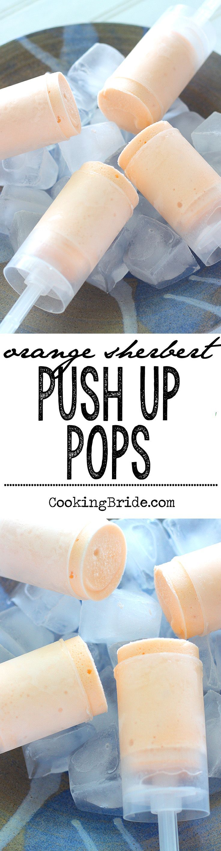 Make push up pops at home! This yummy, refreshing frozen sherbert treat only requires three ingredients!