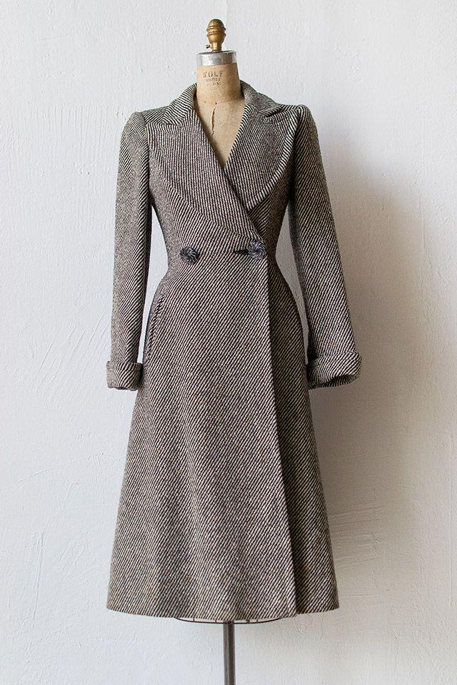 1940s Style Dresses Fashion Clothing: Vintage 1940s Grey Striped Princess Coat
