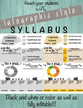 Included are 2 infographic syllabus templates: one in color and one inblack in…