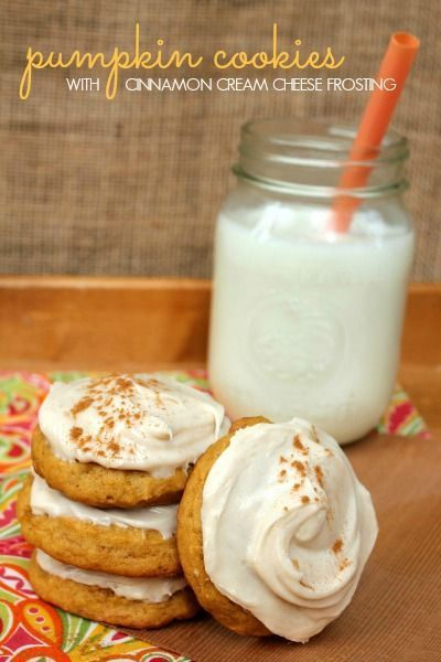 Soft Pumpkin Cookies with Cinnamon Cream Cheese Frosting, The Best pumpkin Cookie Recipe Ever!