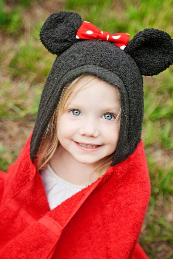 Mouse Hooded Towel with Ears Bow Toddler Baby Child Towels Animal Girl Boy Minnie Mickey Red Black on Etsy, $24.99