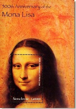 [SIERRA LEONE] - The 500th Anniversary of Leonardo da Vinci painting of Mona Lisa one of the greatest Paintings in Art of all time Called La Gioconda or Light Hatred Woman -  http://stamp-search.com/images/sie0323ss500yrs-mona.jpg