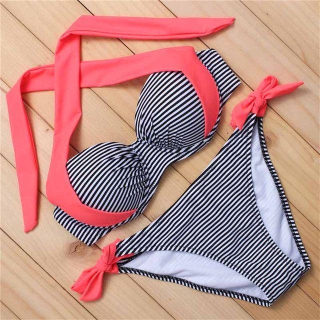 bikinis women halter swimwear push up bikinis swimsuit vintage bikini high neck bathing suit